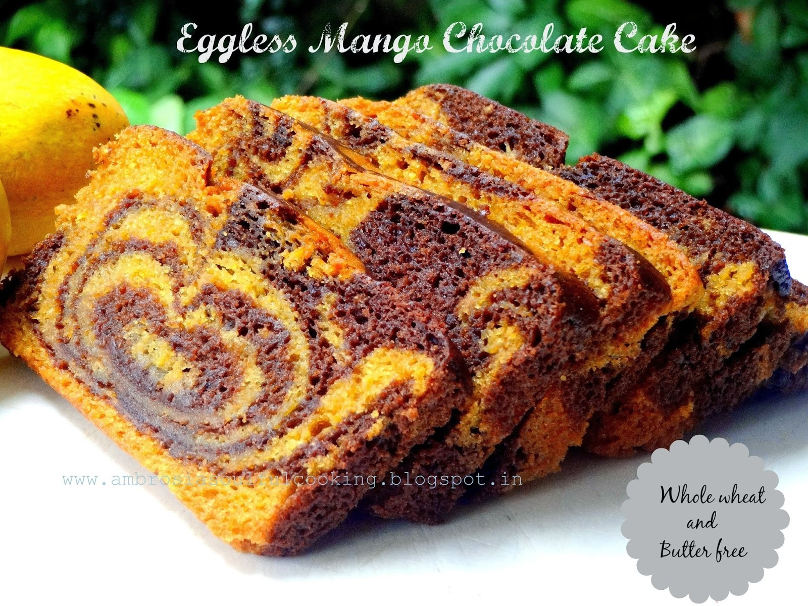 Egg less Whole Wheat Mango Chocolate Cake