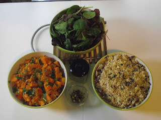 Thrifty Thursday ~ Spiced Sweet Potato with Mushroom & Coriander Cous Cous and Green Salad with Pistachio &Dressing