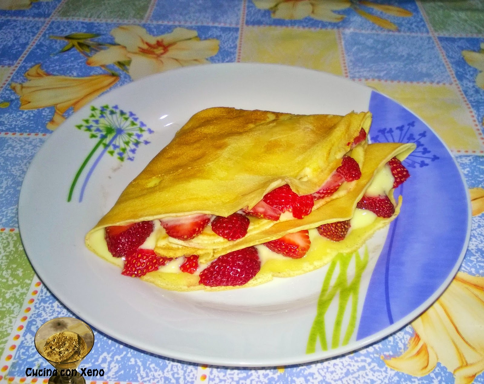 Crepes di riso con fragole in crema - Light