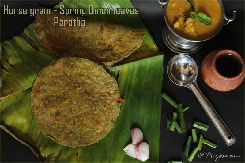 Horse gram - Spring Onion Leaves Paratha / Diet Friendly Recipe - 43 / #100dietrecipes