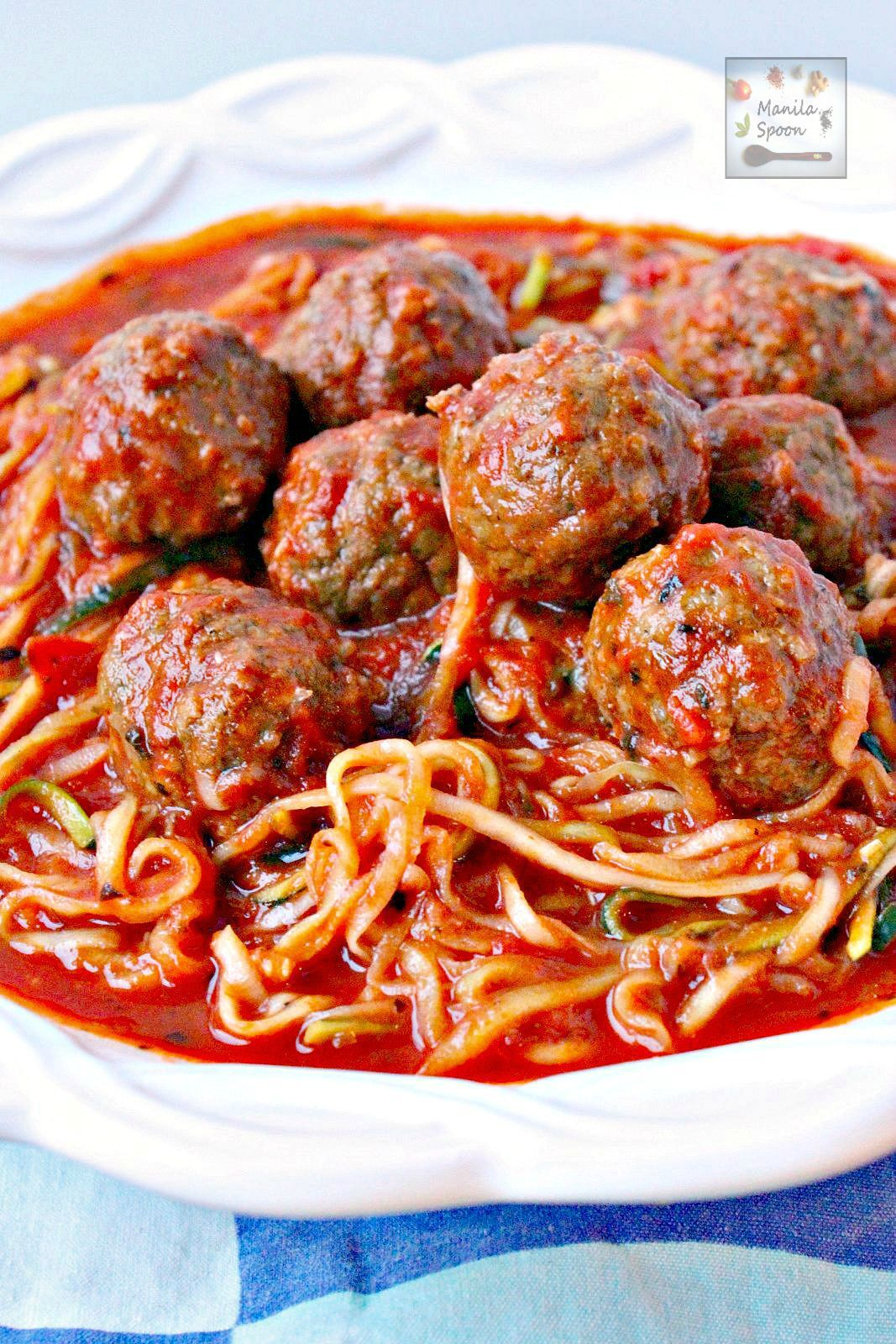 One Pot Meatballs and Zoodles (Zucchini Noodles)