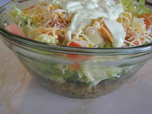 Layered Taco Salad with Avocado Ranch Dressing
