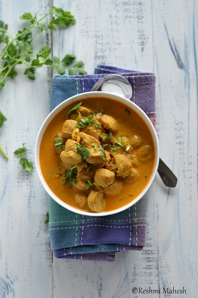 Soya Chunk Masala Curry using Coconut milk