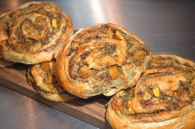 Savoury Chelsea Buns - Walnut Pesto, Roasted Butternut, Gorgonzola & Chestnut Honey