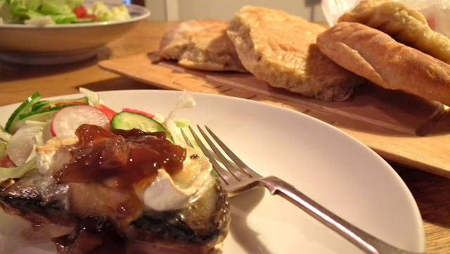 Simple Supper - Portobello mushrooms with roasted garlic, grilled goats cheese and caramelised onion chutney