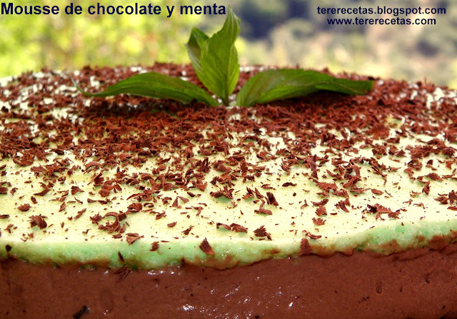Mousse de chocolate y menta.