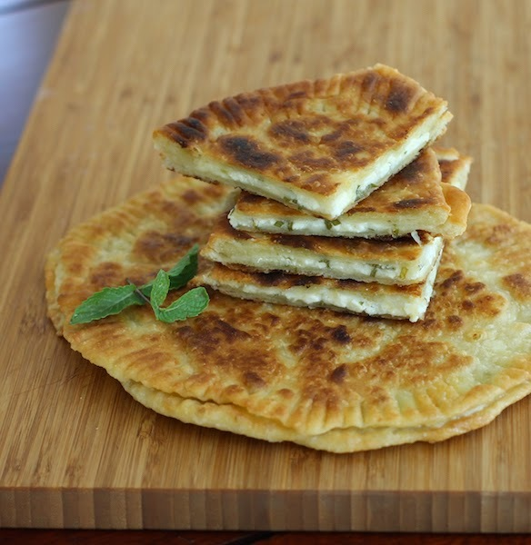Tiganopsomo - Feta-Stuffed Fried Bread #BreadBakers
