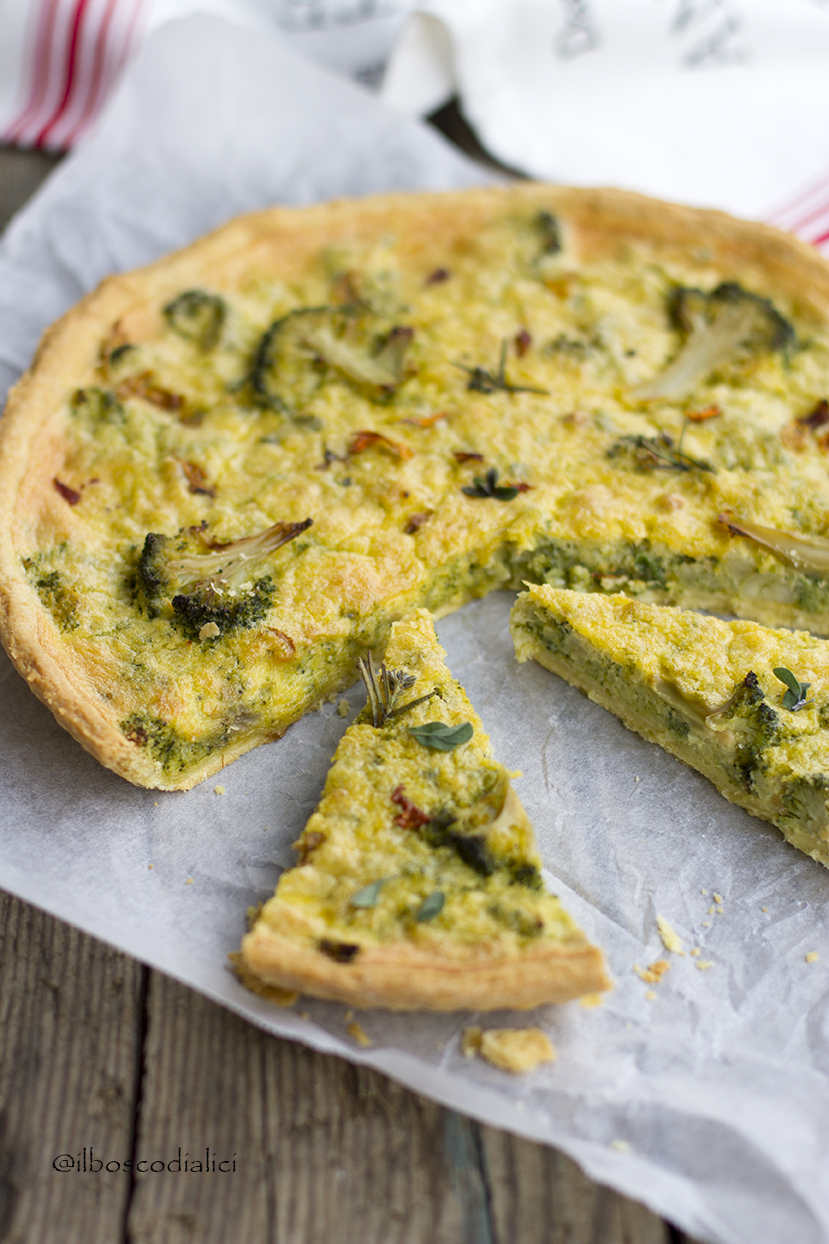 Quiche ai broccoli con pesto di scarti di broccoli