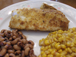 Panko Crusted Orange Roughy Fillet w/ Buttered Corn, Seasoned Black Eye Peas, and...