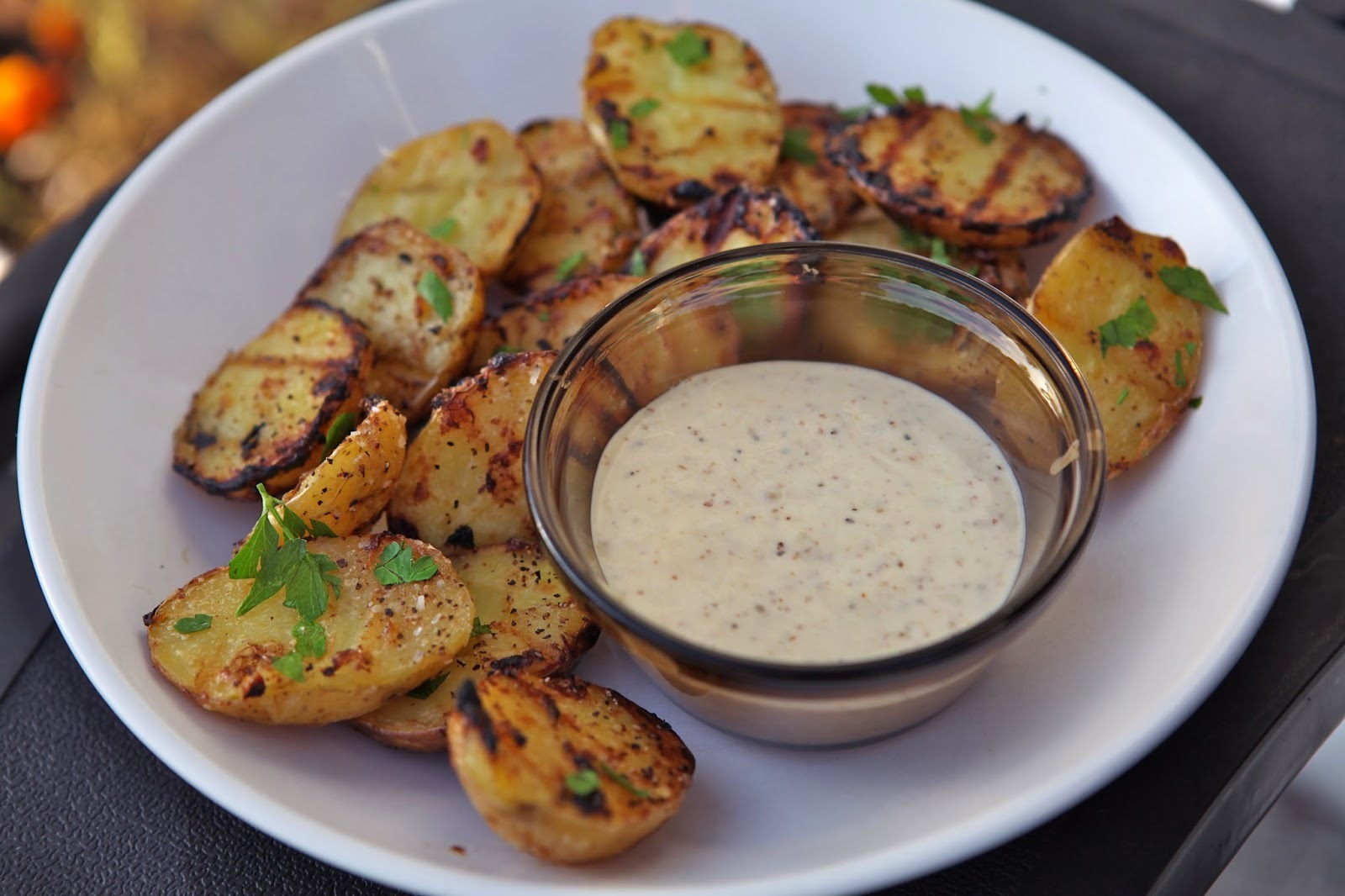 Grilled potatoes with garlic mustard aioli