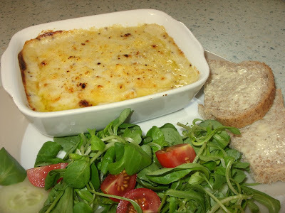 quick cod and prawn gratin