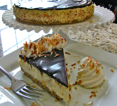 coconut almond cheesecake with chocolate ganache party