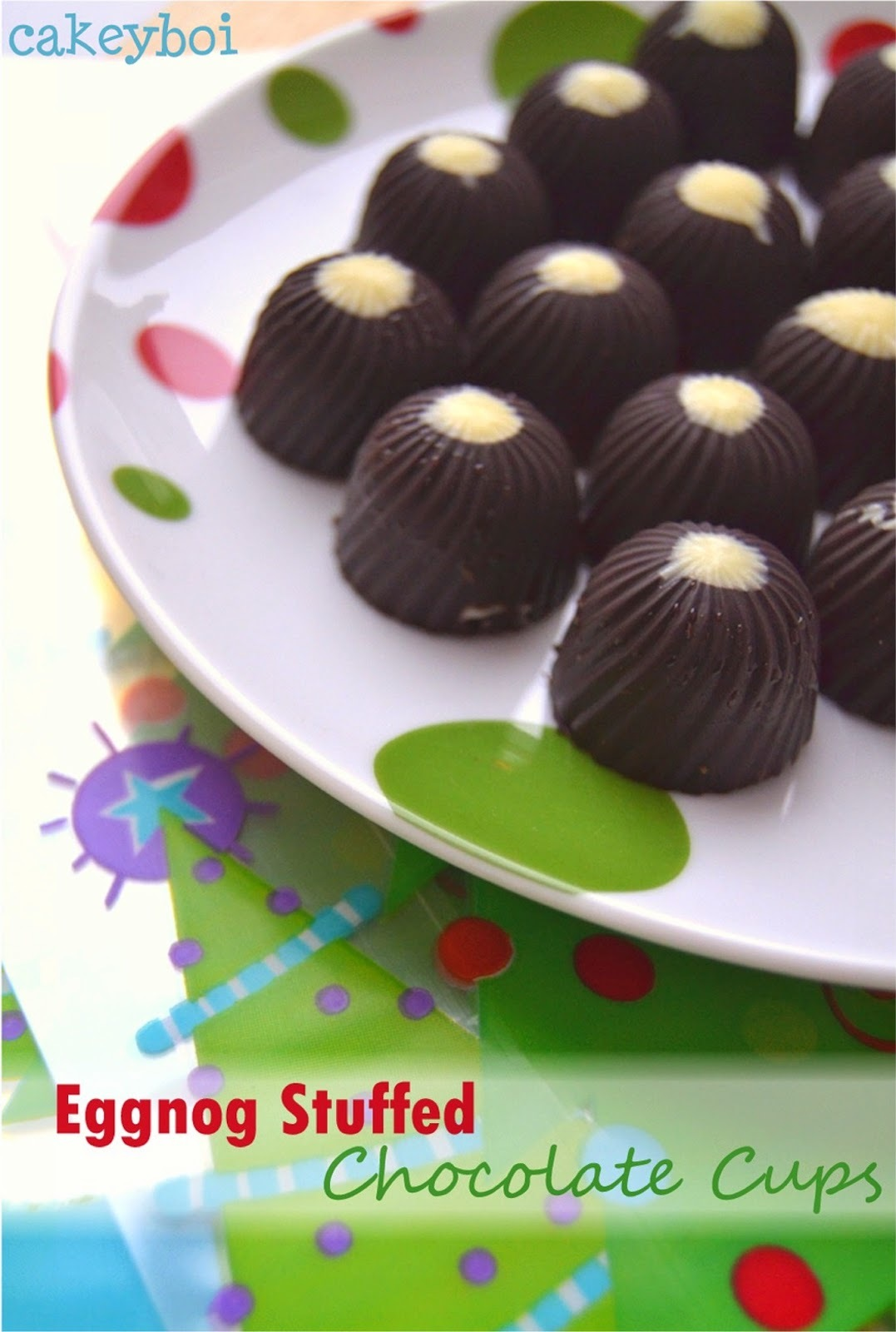 Eggnog Stuffed Chocolate Cups and a Giveaway