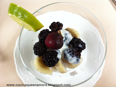 mousse de yogurt con frutos rojos