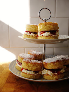 Teeny tiny Victoria sponges with a buttercream and homemade vanilla and strawberry jam filling