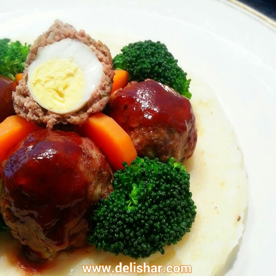 Quail Egg Stuffed Meatballs with Japanese Hamburg Sauce