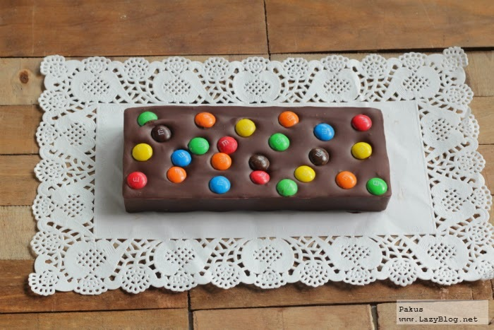 Tableta de chocolate, gianduja y M&M's. Receta
