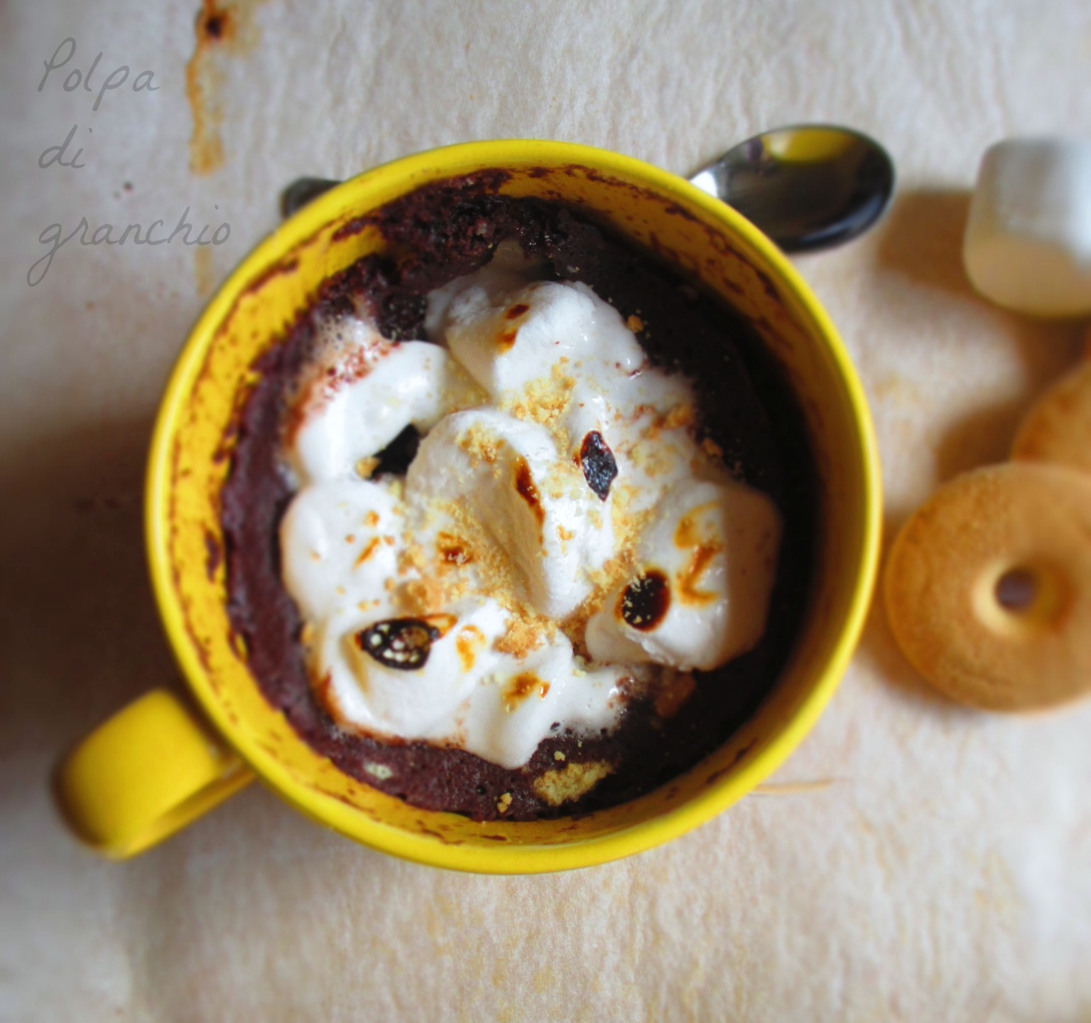 S'mores mug cake | Torta in tazza cioccolato e marshmallows