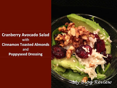 Cranberry Avocado Salad with Cinnamon Toasted Almonds and Poppyseed Dressing