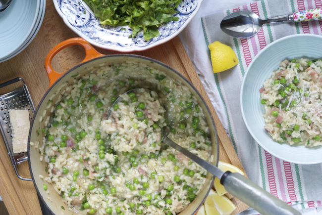 Herby pea and pancetta risotto