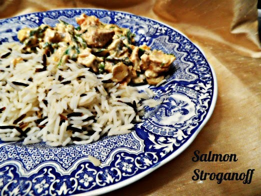 Salmon & Asparagus Stroganoff (Dhruv Baker's recipe for Tilda rice)