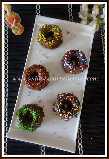 Eggless Fingermillet Chocolate Bundts With Sprinkles | #Bundtbakers