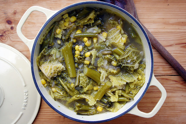 broccoli, green bean, sweetcorn and cabbage soup