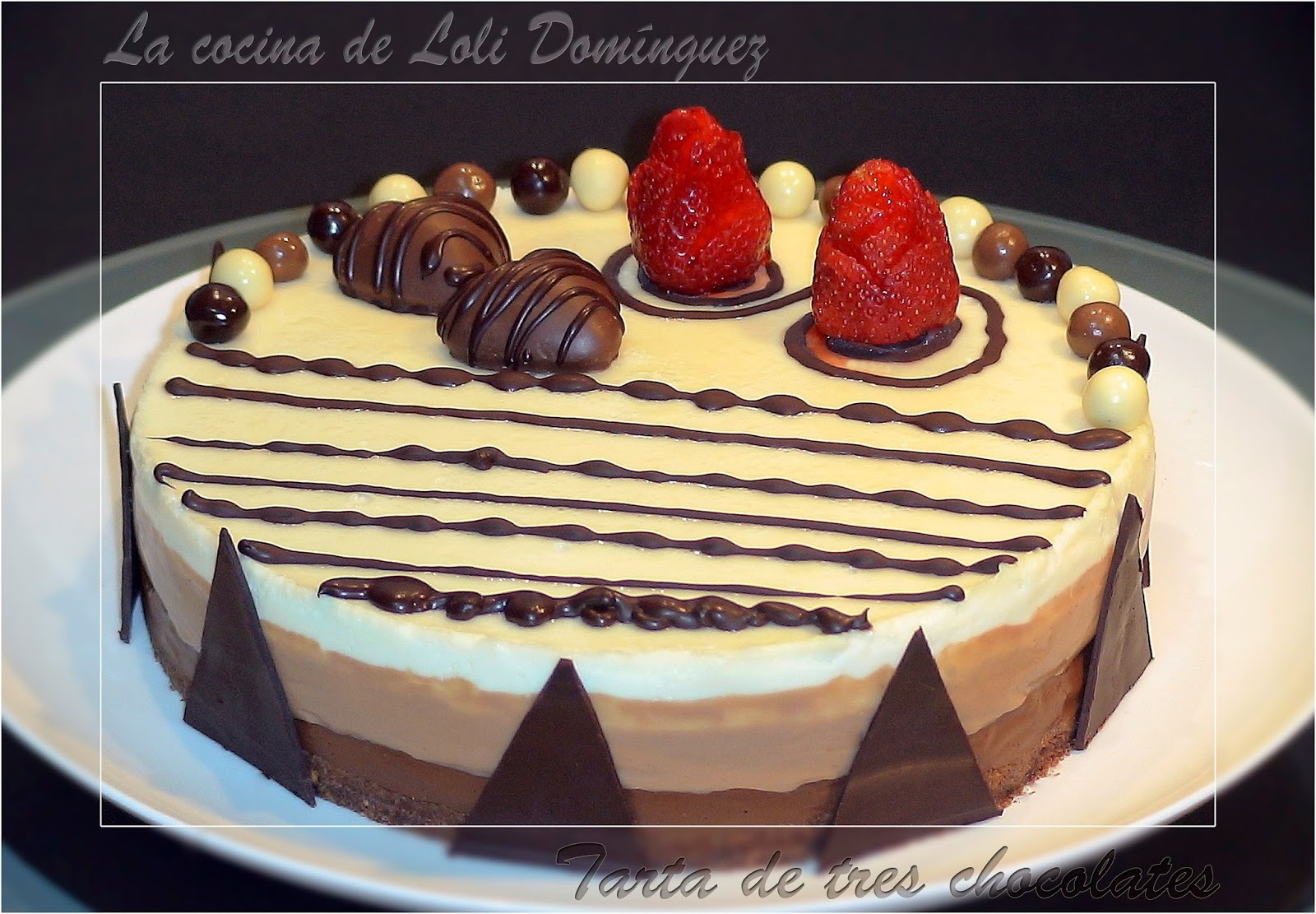 video de de tarta de tres chocolates