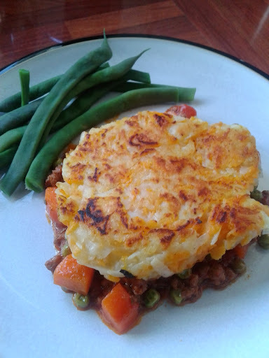 Cute cottage pies with rosti tops