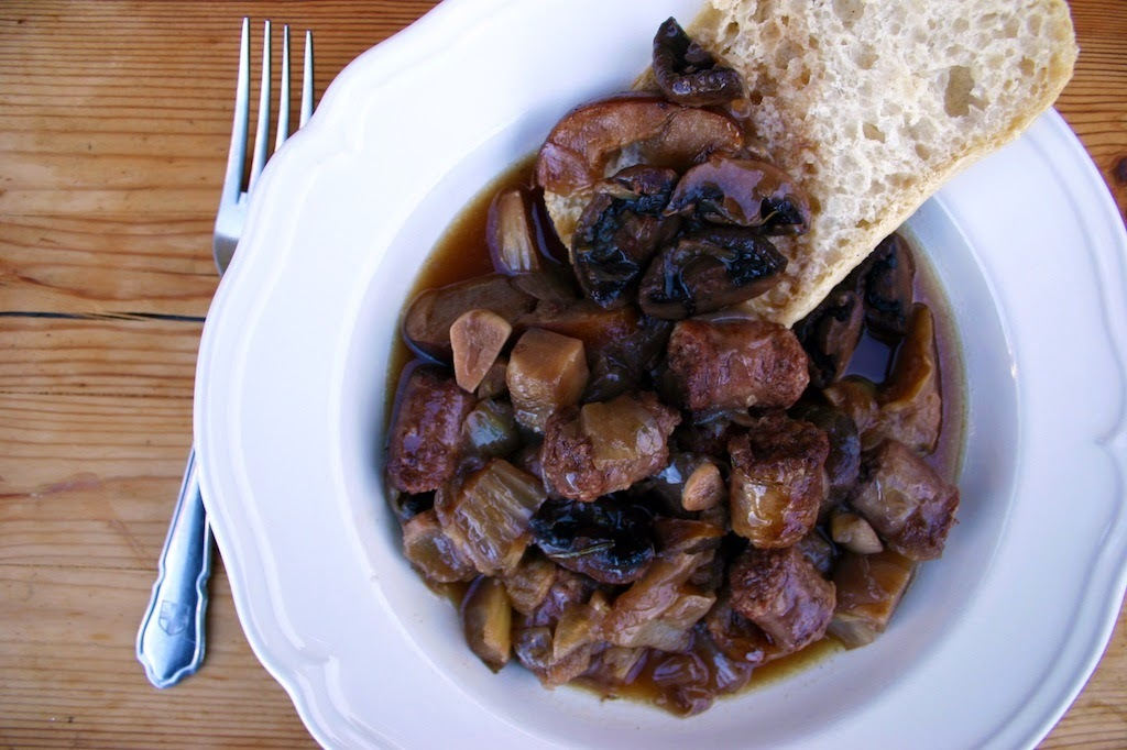wild boar sausage and caramelised apple stew