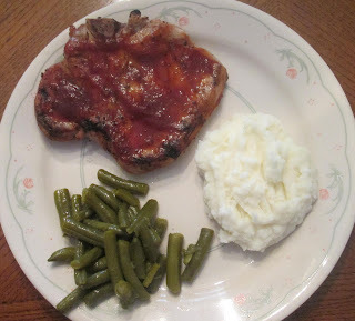 Grilled BBQ Pork Chop w/ Mashed Potatoes, Green Beans, and Whole Grain Bread
