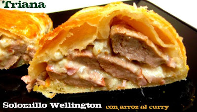 "Solomillo Wellington con arroz al curry para nuestro ""aniversario"""