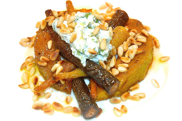 Roast Heritage Squash & Carrots, Feta Yoghurt, Pine Nuts and Honey