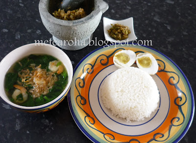 Spinach and Prawn Soup & Sambal Lonte