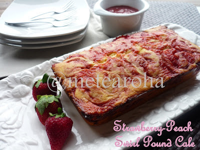 Strawberry-Peach Swirl Pound Cake