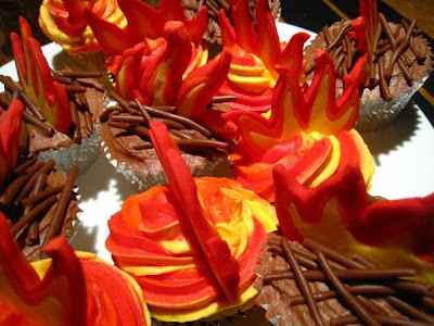 Flame filled fairy cakes