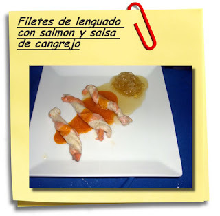 Filetes de lenguado con salmon y salsa de cangrejo