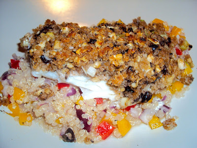 Baked Cod with A Mushroom and Walnut Crumb Topping