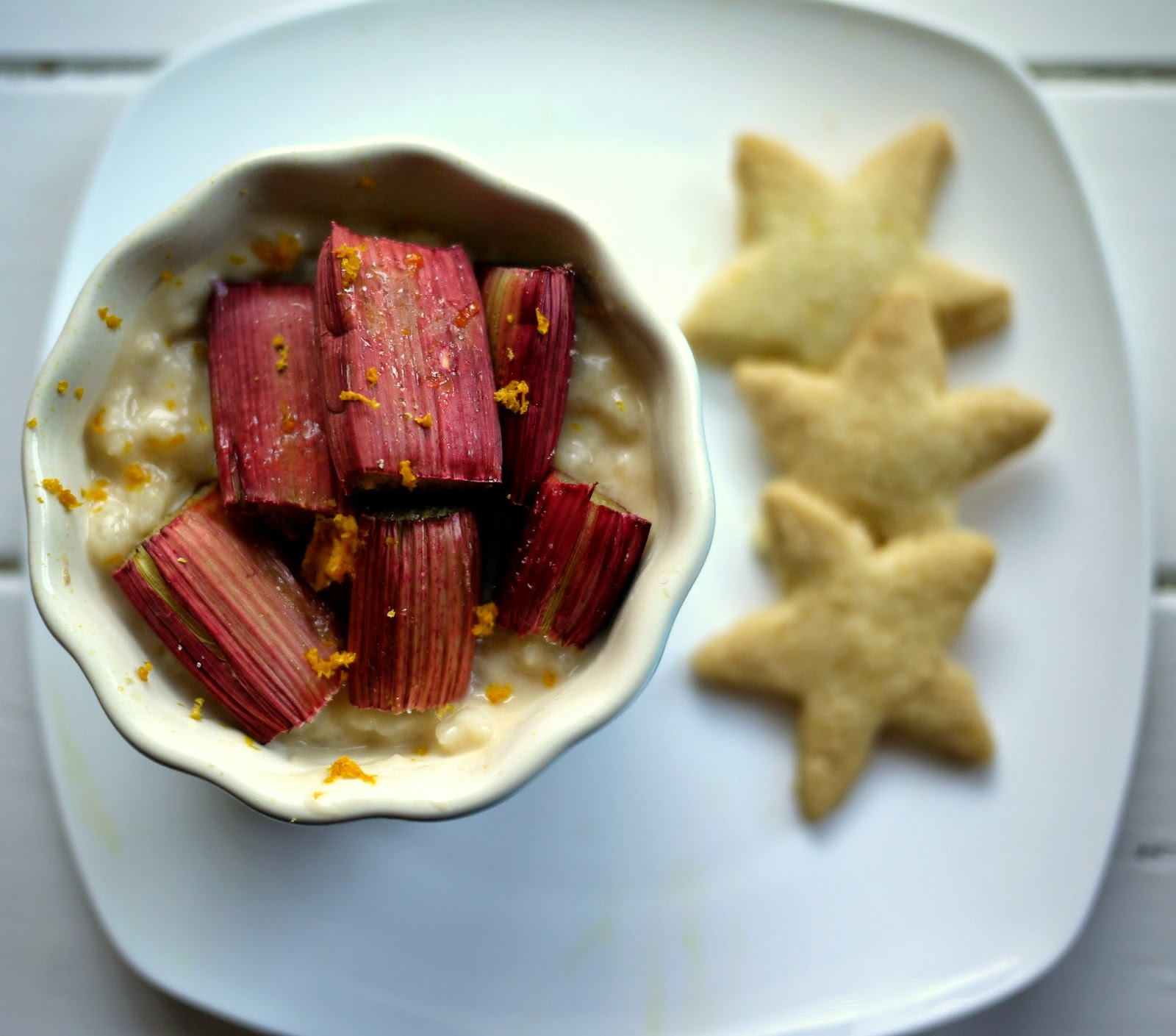 Roasted Rhubarb Rice Pudding with Orange Shortbread