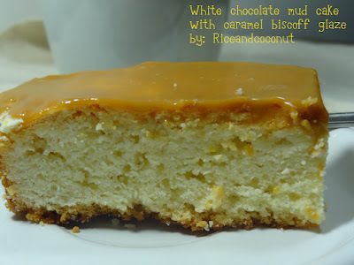 White chocolatte mud cake with caramel biscoff glaze
