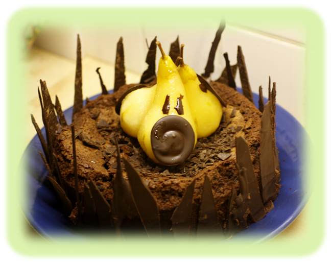 Earl Grey Chocolate Torte and Spooky Poached Pears