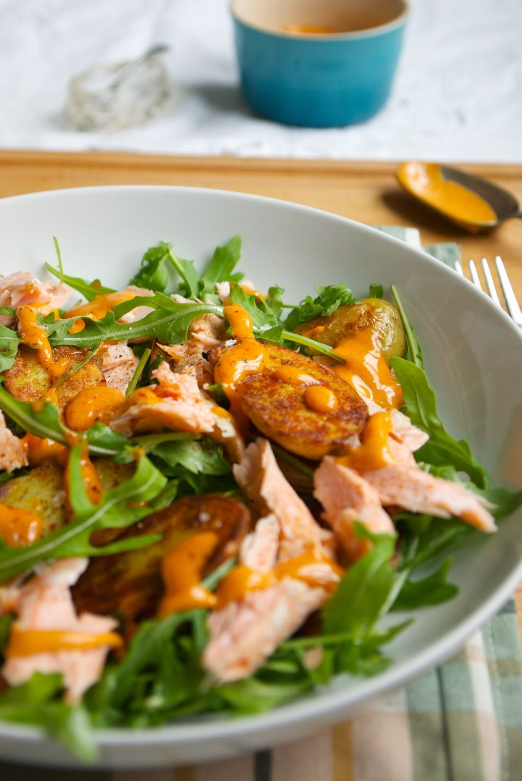 Hot smoked salmon and potato salad with paprika aioli
