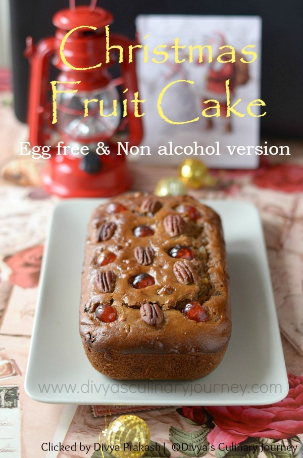 Egg less Christmas Fruit Cake (without alcohol) | Plum Cake without egg Recipe