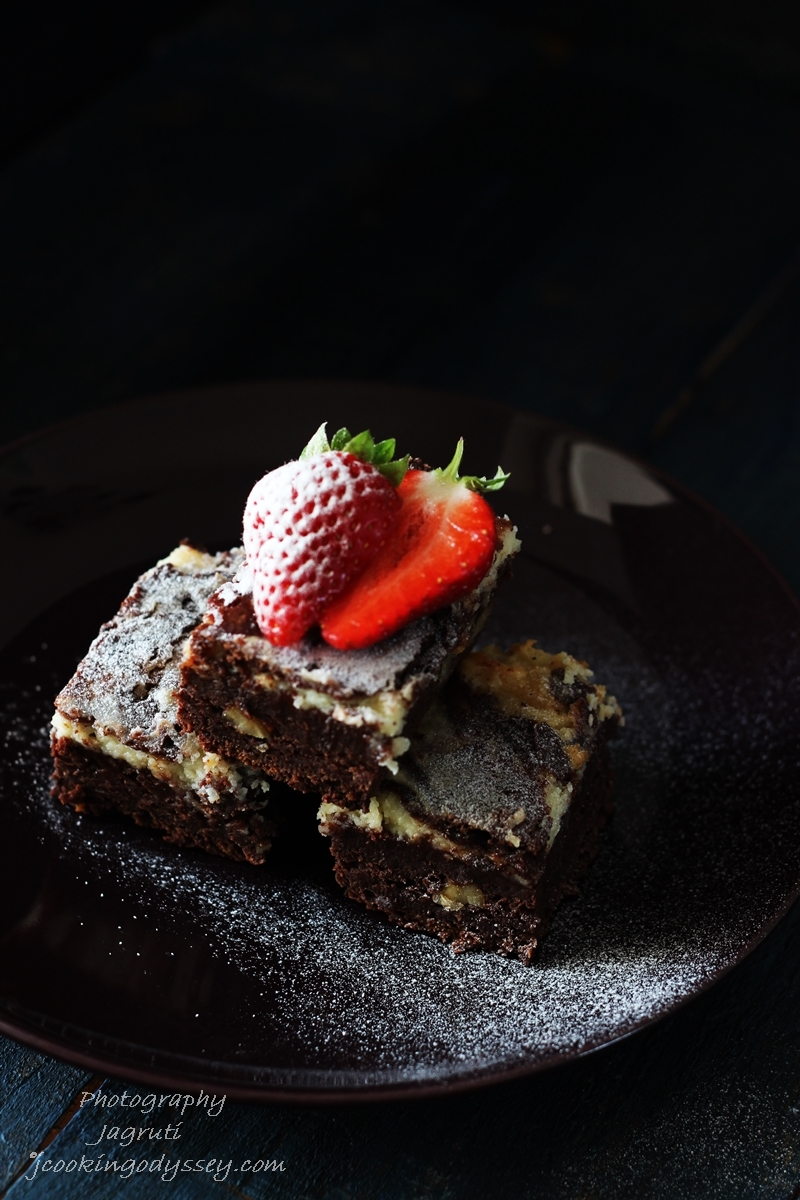 Eggless, Butterless Cream cheese Chocolate Brownies #egglessbaking #chocolate #brownies #soyummy
