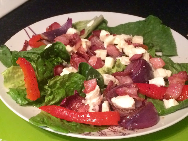Recipe: Mozzarella, bacon and roasted veg salad