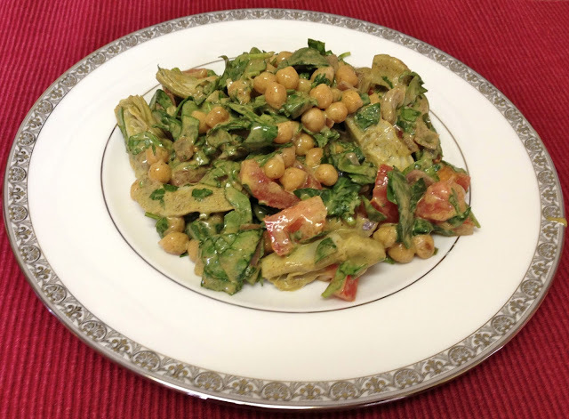 Chickpea Spinach Salad With Chia Seed Honey Mustard Dressing