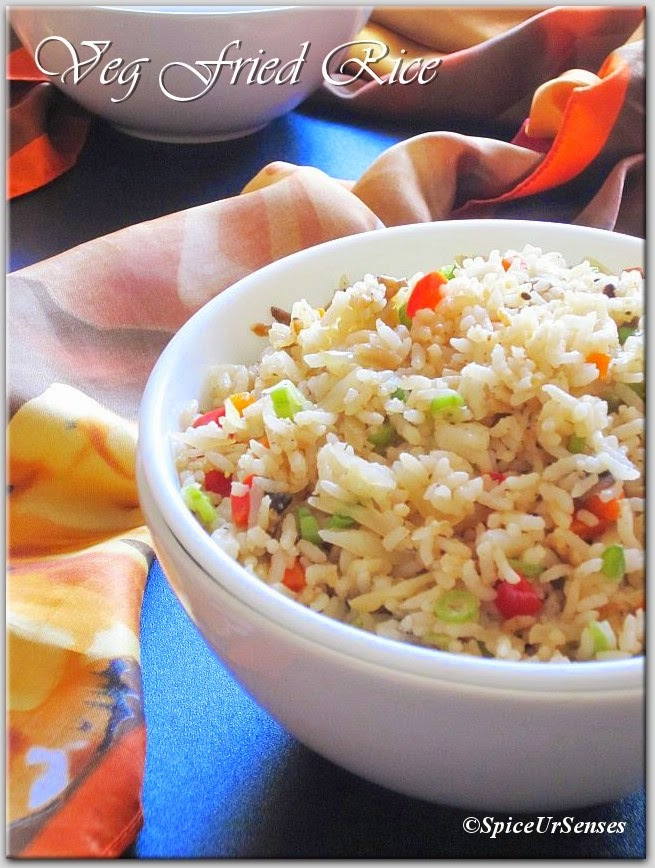 Vegetable Fried Rice/Indo Chinese Style.