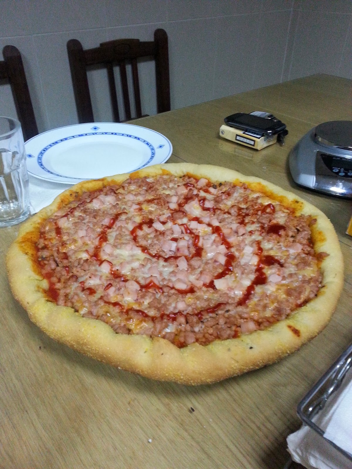 Pizza Barbacoa con masa GORDITA!!!