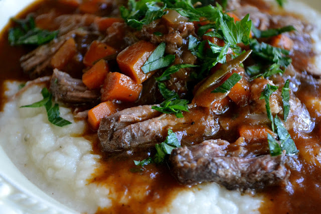 Braised Short Ribs over Turnip Puree