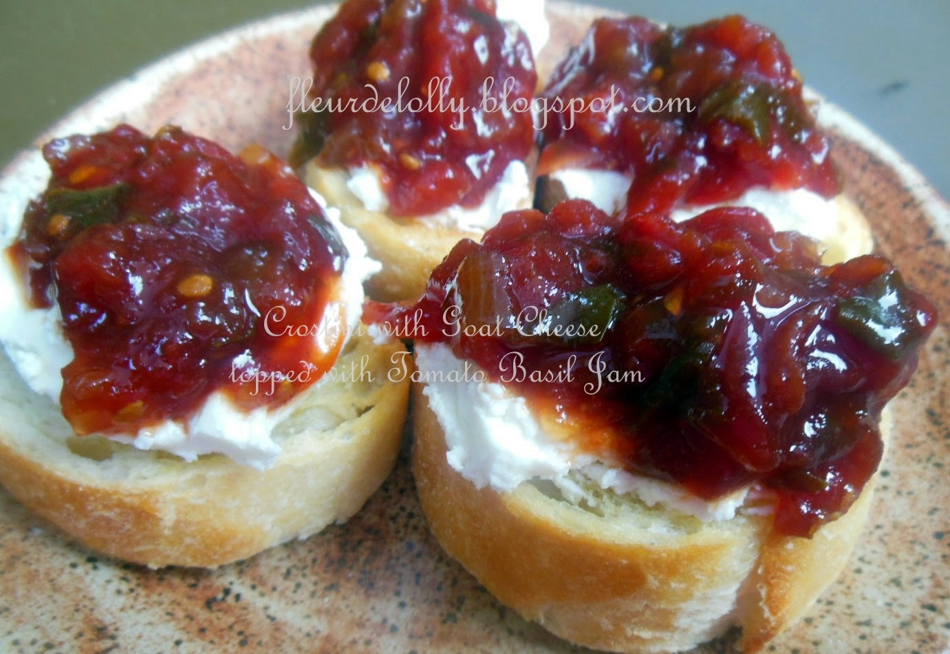 Tapas Thursday - Crostini with Goat Cheese and topped with Tomato Basil Jam